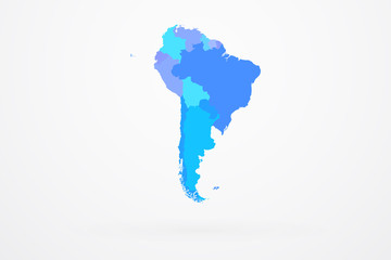 South America Continent Map With Country Borders