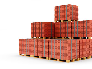 Stacked Red Bricks on a wooden Pallet
