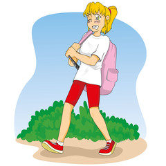 student walking and carrying heavy backpack