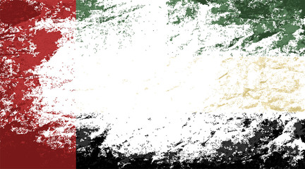 United Arab Emirates flag. Grunge background. Vector