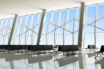 Modern Interior of an Airport Terminal Waiting Area