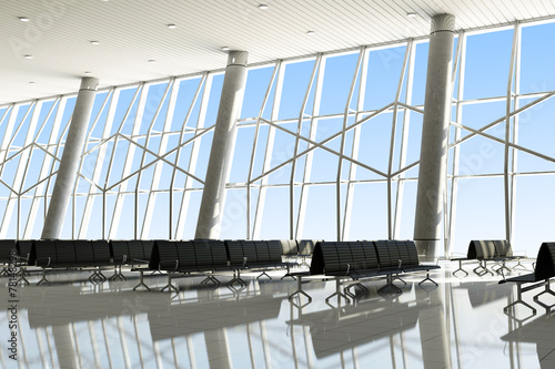 Modern Interior of an Airport Terminal Waiting Area - 78148298