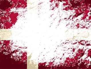 Danish flag. Grunge background. Vector illustration