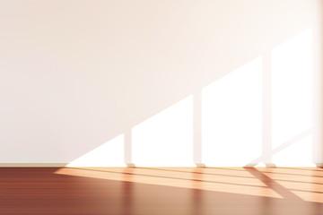 Modern Empty Room 3D Interior with Sunlight