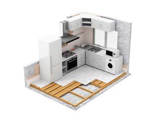 Apartment Construction Concept. Kitchen Room Under Construction