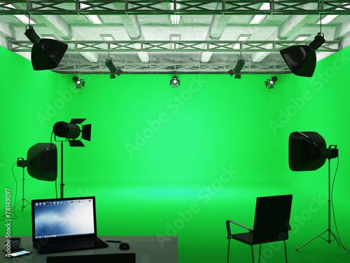 Pavilion Interior of Film Studio with Green Screen - 78149097