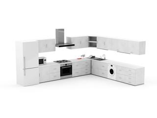 Modern Kitchen 3D Interior isolated on white background