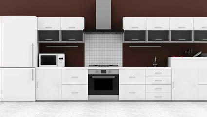 Modern Kitchen Interior (Hight Resolution 3D Image)