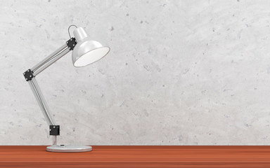Metal Desk Lamp on the Wooden Table