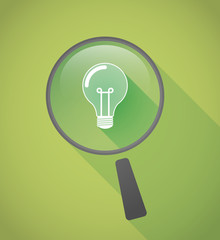 Magnifier icon with a light bulb