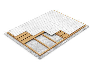 Home Construction Concept. Cross Section of Floor