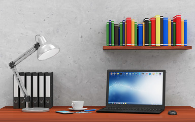 Modern Place of Work with Group of Office Equipment