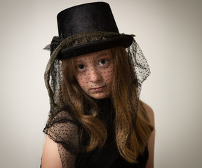 Ginger Teenage Girl In Victorian Riding Hat