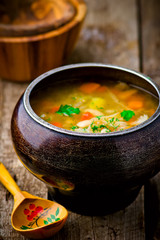 shchi, traditional Russian soup from cabbage.