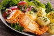 canvas print picture - Grilled salmon and vegetables