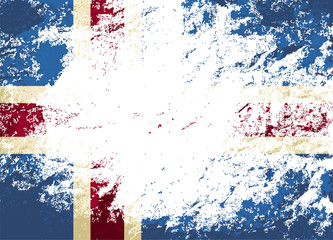 Icelandic flag. Grunge background. Vector illustration