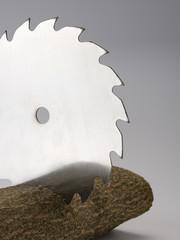 Kreissägeblatt mit Holz vor grauem Hintergrund