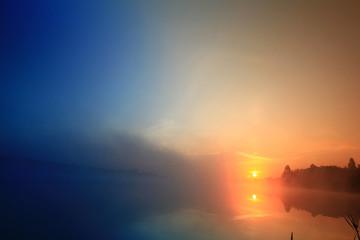 sunrise on the lake fog landscape nature