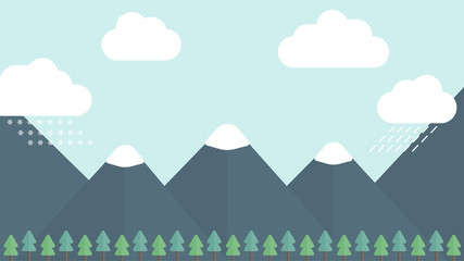 Mountain and clouds background in flat design style