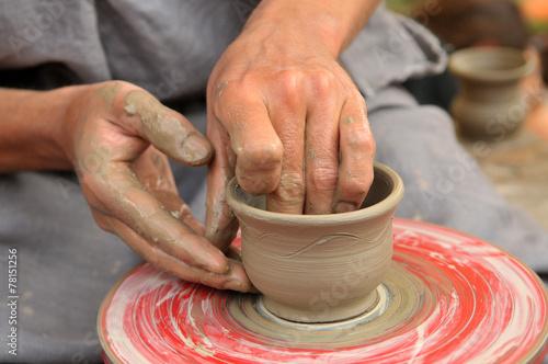 Leinwandbild Motiv Ukrainian traditional handmade ceramic pots