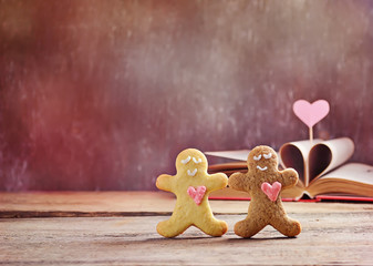 Valentine cookies gingerbread man with heart
