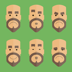Emotional faces in flat design style