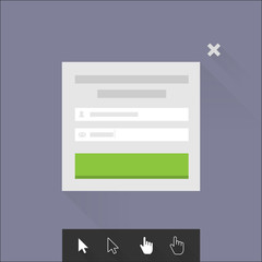 Internet form with mouse cursors in flat syle design