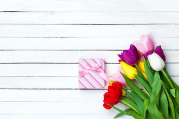 Gift box and tulips