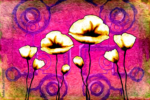 Foto op Aluminium Roze Abstract flower oil painting