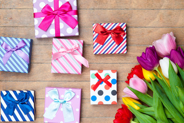 Gift boxes and tulips