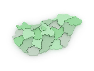 Three-dimensional map of Hungary.