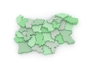 Three-dimensional map of Bulgaria.