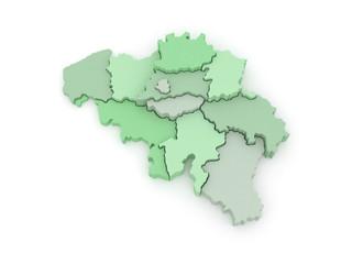 Three-dimensional map of Belgium.