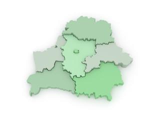 Three-dimensional map of Belarus.
