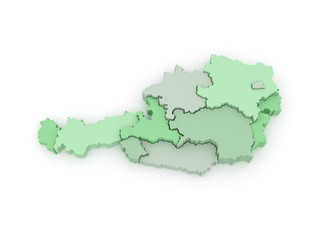 Three-dimensional map of Austria.
