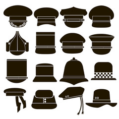 Set of 16 icons hats military and police