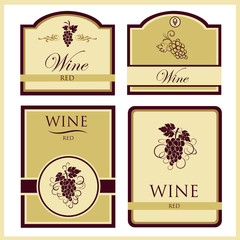 A set of four labels of red wine