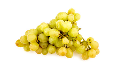 Delicious juicy fresh green grapes isolated on white