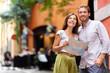 Zdjęcia na płótnie, fototapety, obrazy : Stockholm tourists couple with map in Gamla Stan