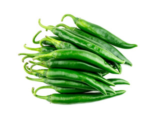 Pile of green chili pepper isolated in studio