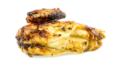 Macro closeup of delicious roasted chicken breast and wing