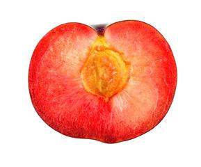 Macro closeup of cross section of inside of plum