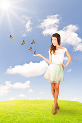 Beautiful young woman and butterflies