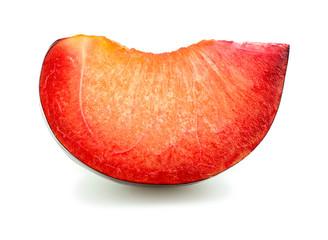 Extreme macro closeup of slice of juicy delicious ripe plum