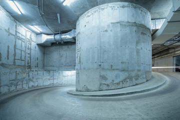 Spiral road to the underground garage.