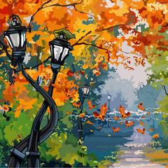 cartoon street lights in the autumn park