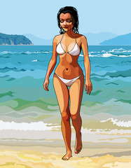 cartoon of a beautiful girl in a white bikini