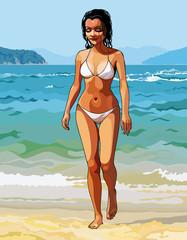 cartoon of a beautiful girl in a white bikini