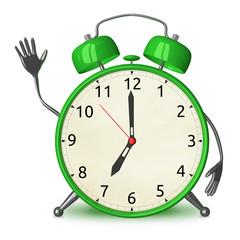 Green alarm clock waving hand