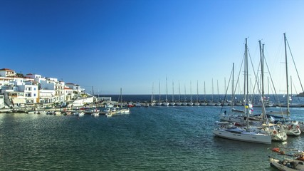 4K. Timelapse: Views of the Yacht Marina on Island at  Sea.